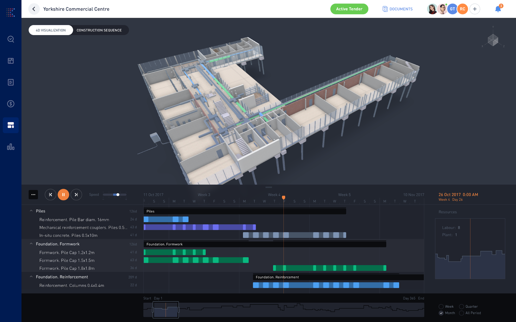 KREO also generates a 4D visualisation of the construction process, without any user intervention