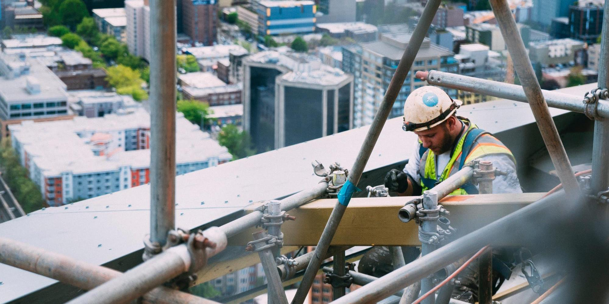 Construction worker on scaffolding