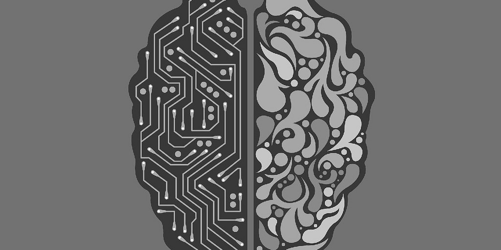 image depicting half machine brain half human brain