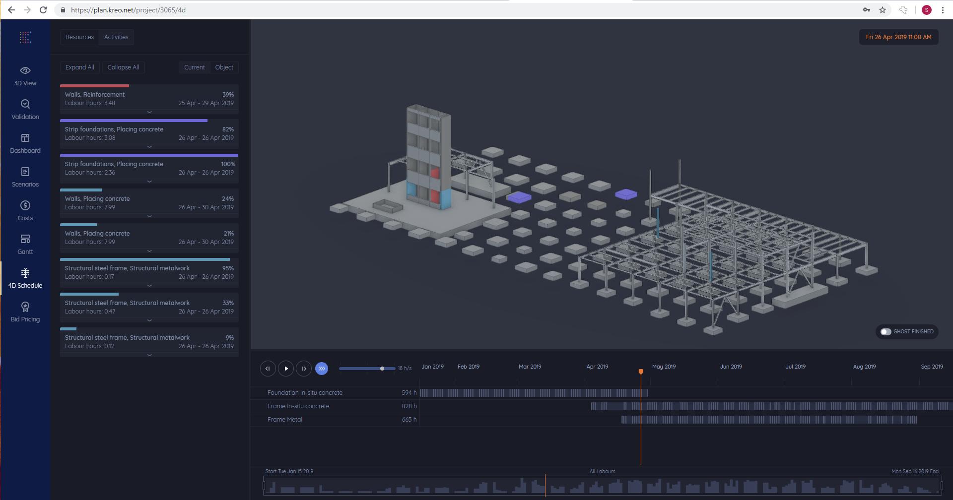 4D BIM model simulation before fixing errors